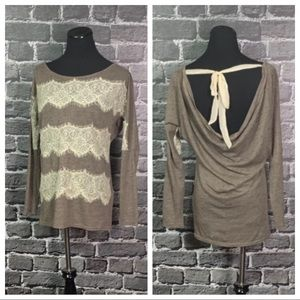 A'reve ANTHRO Taupe Lace Striped Draped Back Top